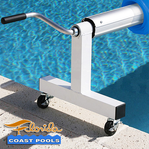 Solar pool cover reels for Florida inground pools.